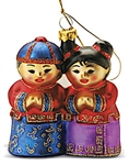 GLASS ASIAN FRIENDS ORNAMENT