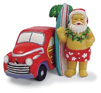 SANTA & SURF WAGON RESIN ORNAMENT