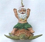 SANTA ON HONU TURTLE RESIN ORNAMENT