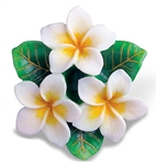 WHITE PLUMERIAS RESIN ORNAMENT