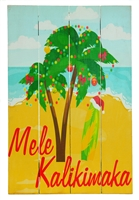 RUSTIC WOOD PAINTED SIGN - MELE KALIKIMAKA