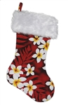 TROPICAL CHRISTMAS STOCKING - RED